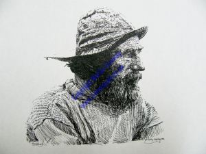 Fisherman Portrait in Inks series by Martin Conway