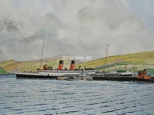 King George V at Inverary.  A watercolour by Martin Conway