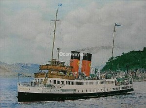 King George V at Oban.  A watercolour by Martin Conway