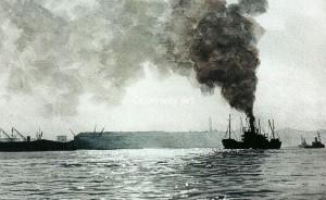 London Docks at Dawn. A watercolour by Martin Conway