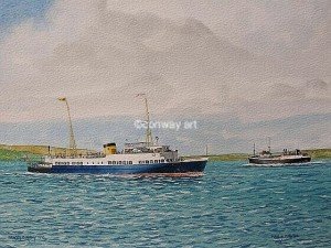 Maid of Argyll near Dunoon.  A watercolour by Martin Conway