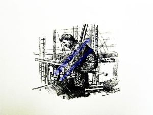 Riveter Portrait in Inks series by Martin Conway