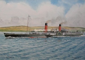 RMS Columba. A watercolour by Martin Conway