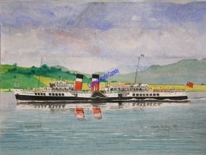 Waverley off Gourock A watercolour by Martin Conway