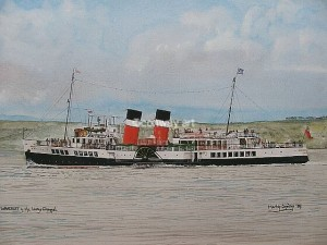 Waverley in the Largs Channel. A watercolour by Martin Conway